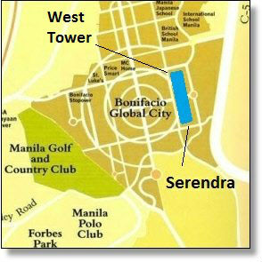 West Tower at Serendra One map, BGC